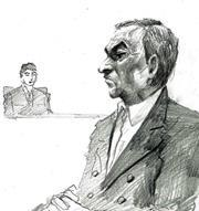 Sketch of Carlos Ghosn in court.