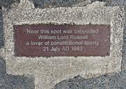 Memorial plaque to William Lord Russell, Lincoln's Inn Fields