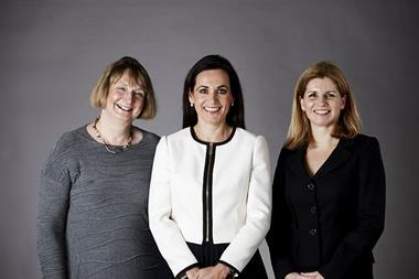 Amanda McAlister (centre) with Liz Cowell (left) and Fiona Wood (right)