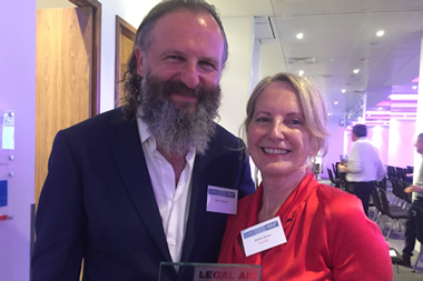 Sheila Donn with her husband Alan Russell at the Legal Aid Lawyer of the Year awards