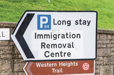 Immigration removal centre road sign