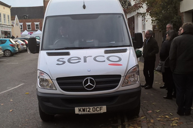 Serco virtual court van apparently parked on double yellow line.