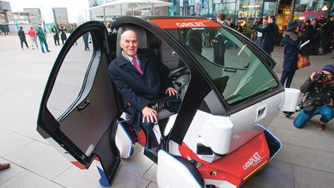 Vince Cable in a driverless car