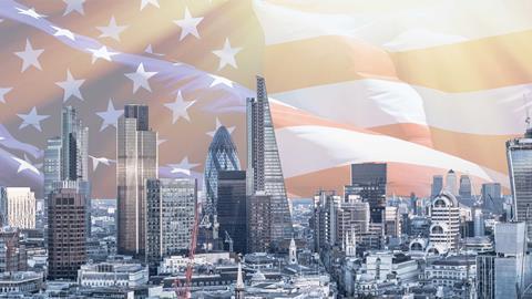 London skyline us flag