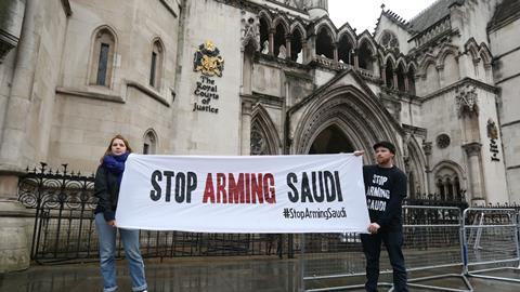 Protest against arms trade in Saudi Arabia