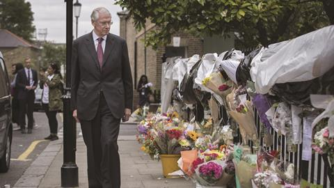 Moore-Bick visits the site of the Grenfell Tower disaster