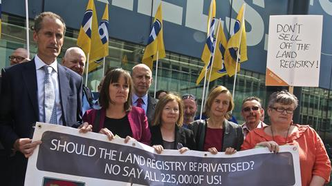 Demonstrators hand in petition against Land Registry sell off to department for Business, Innovation and Skills
