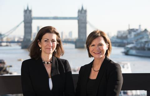 Therese Pritchard (L) and Lisa Mayhew, co-chairs of Bryan Cave Leighton Paisner
