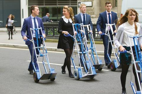 Law clerks with trolleys