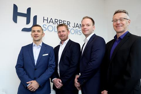 Left to right: corporate partner Adam Kudryl, employment partner Simon Gilmour, chief executive Toby Harper and commercial director Fran Davie