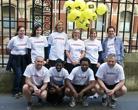 10 of the Gazette's media partner team before the 2015 London Legal Walk