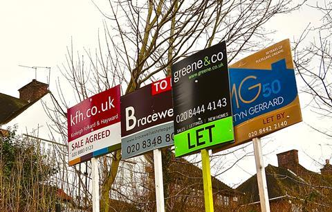 Estate agents' for sale and property letting signs, Muswell Hill, London