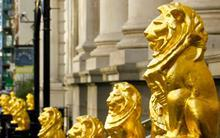 Lions on railings outside refurbished Law Society HQ Chancery Lane