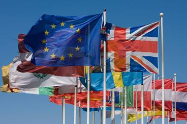 European Union and union flags